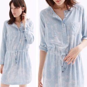 Lou & Grey Pyramid Light Blue Shirt Dress Size L